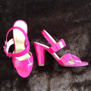 Hot pink patent leather sling backs